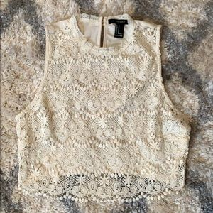 White lacy crop  top